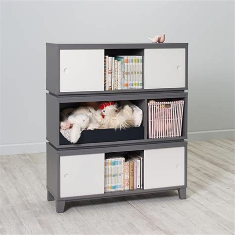 Book Shelf Bench by District Storage Bench Bookcase Grey The Land Of Nod