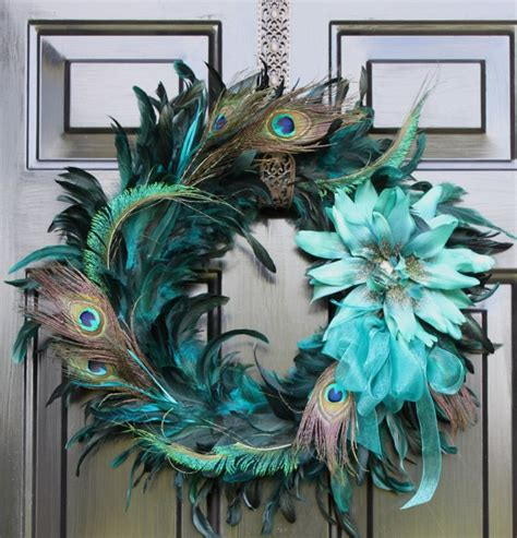 peacock feather wreath summer wreath home decor