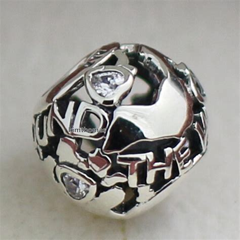 925 sterling silver around the world charm bead with cubic