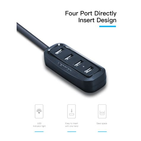 Vention High Speed 4 Ports Usb Hub 2 0 Berkualitas Vention High Speed 4 Ports Usb Hub 2 0 Black