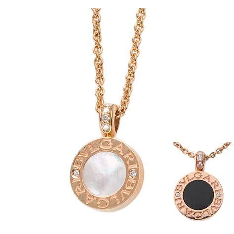 bvlgari bvlgari 18krg pendant chain with pave diamonds and