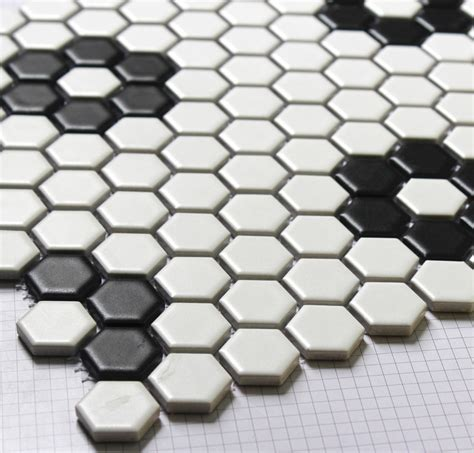 hexagon mosaics tile black and white parquet mosaic