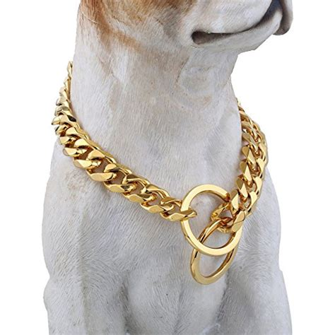 gold chain for dogs gold tone designer collar 15mm wide fancy metal slip chain cool best for