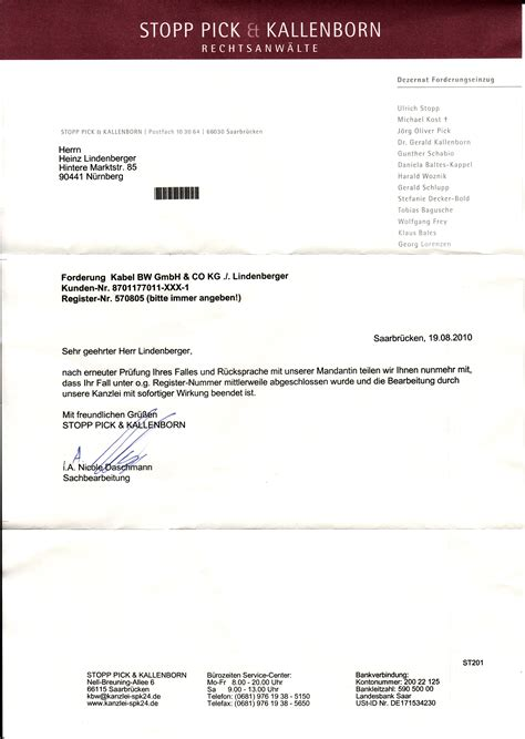 Mahnung Muster Lohn Offene Forderung Stopp Kallenborn 4gang