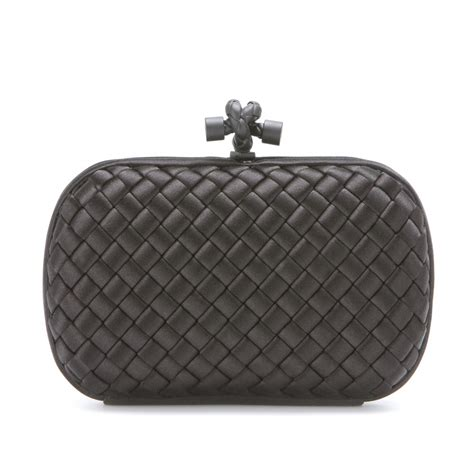 Bottega Veneta Intrec Capretto Knot Clutch In Black by Bottega Veneta Knot Satin Box Clutch In Black Nero Lyst