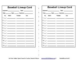 free printable baseball lineup cards template 27 images of t batting order template eucotech