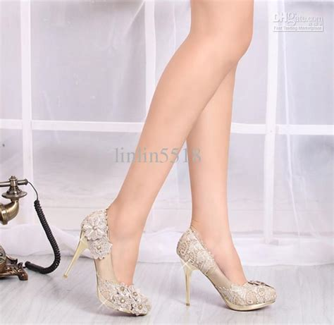 Heels 10 Cm lace flowers 10cm heels waterproof prom evening