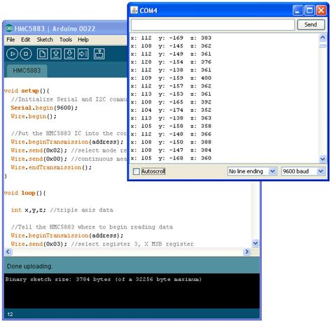 arduino code hmc5883l triple axis magnetometer hmc5883l breakout quickstart