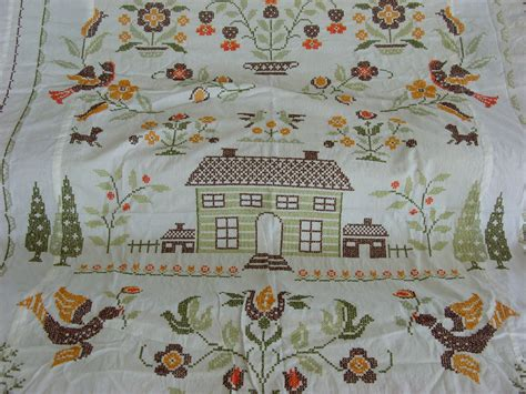 Cross Stitch Quilt Top by Cross Stitch Embroidered Quilt Top By Hometownvintage On Etsy