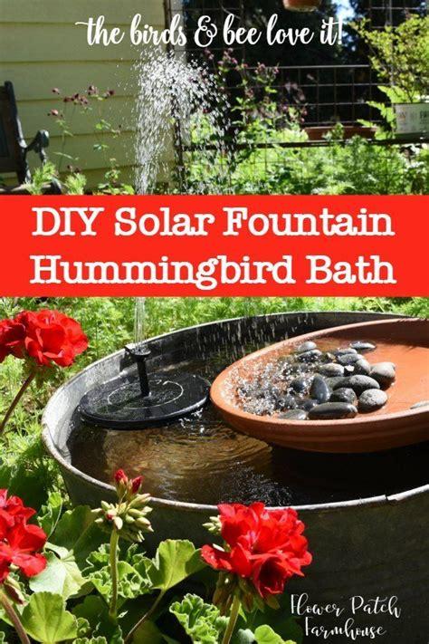 diy solar fountain hummingbird bath secret garden ideas