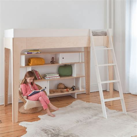 perch loft bed in white and walnut by oeuf