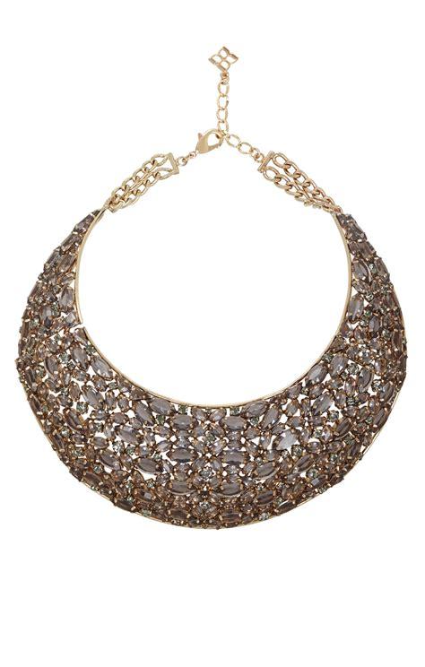 bcbgmaxazria statement stonebib necklace in gold black