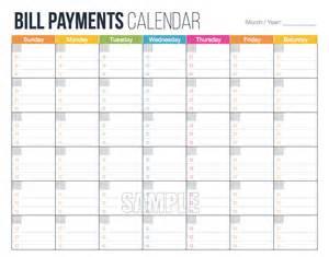 monthly bill calendar template bill payments calendar editable personal finance