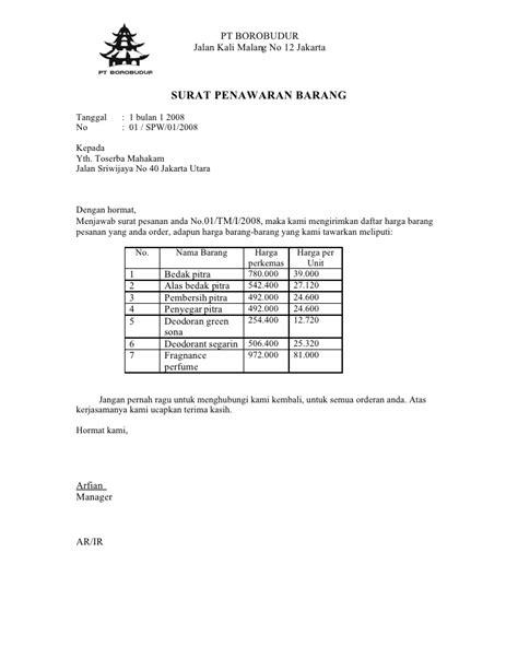 Contoh Surat Penawaran Barang Produk by Piratebayfix