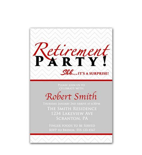 free printable masculine stationery red surprise retirement party invitation farewell