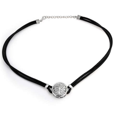 925 Sterling Silver Tree of Life Leather Necklace 16in