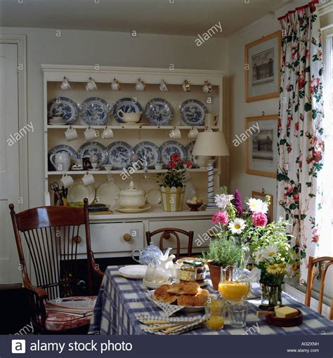 dresser dining room blue white china on white dresser in country dining room