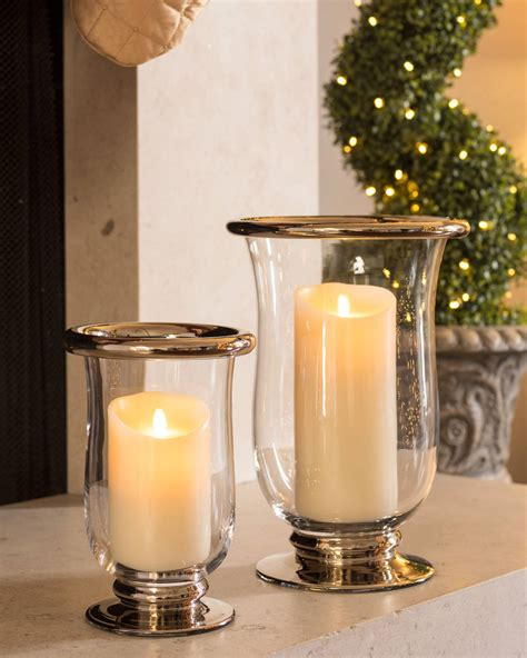 platinum glass hurricane candle holders balsam hill