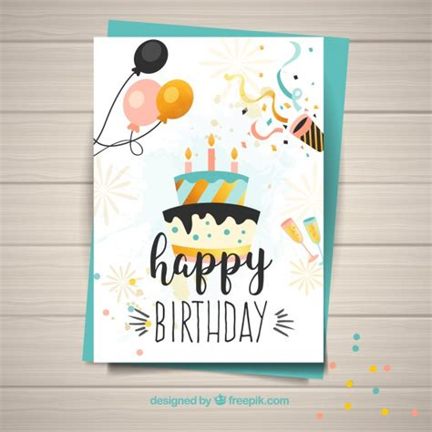 birthday card template free vector template for happy birthday card vector free