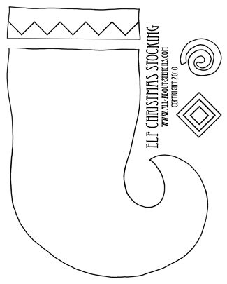 elf stocking coloring pages christmas craft stocking santa claus and christmas