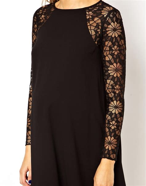 lace sleeve swing dress asos swing dress with lace sleeve in black lyst