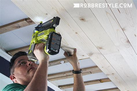 Installing A Ceiling by Diy Shiplap Bedroom Ceiling Robb Restyle