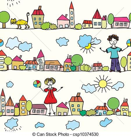 weather pattern drawing drawings of kids seamless pattern with houses and weather