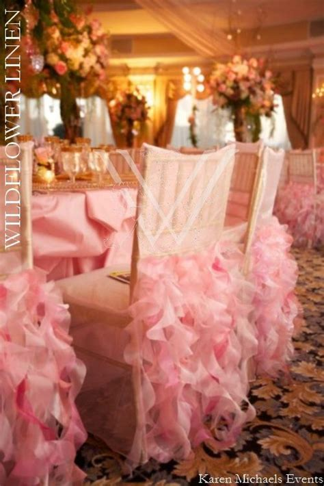 Wedding Reception Chair Covers Iridescent Taffeta Charlotte Cotton Candy Linen Curly Willow Light Pink Chair Cover Courtesy