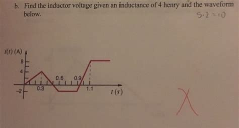 inductor given voltage b find the inductor voltage given an inductance o chegg
