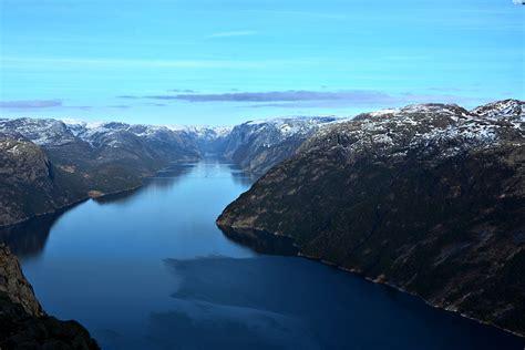 fjord water fjord mountains water lysefjord beautiful views