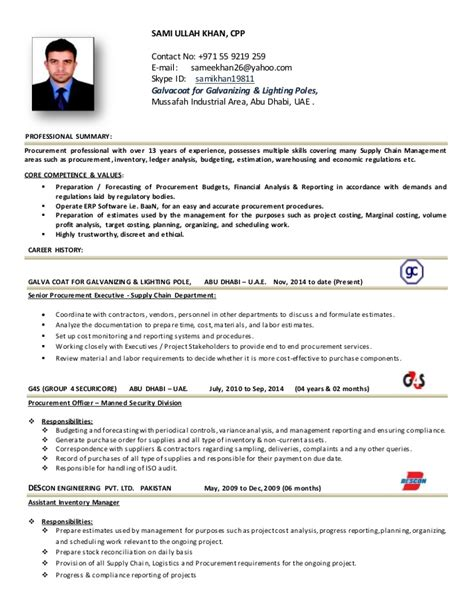 procurement format cv templates procurement executive cv