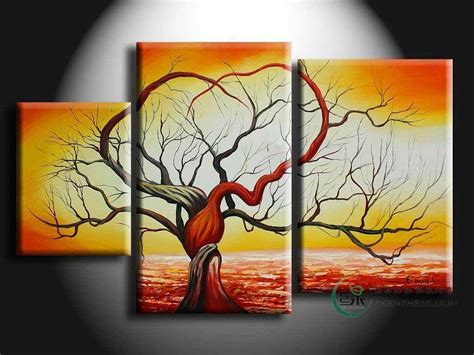 cheap 5 piece set red lovers tree loving landscape canvas handpainted 3 piece red white modern abstract decoraive