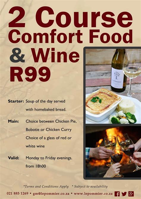 restaurant specials r99 dinner wine special at le pommier