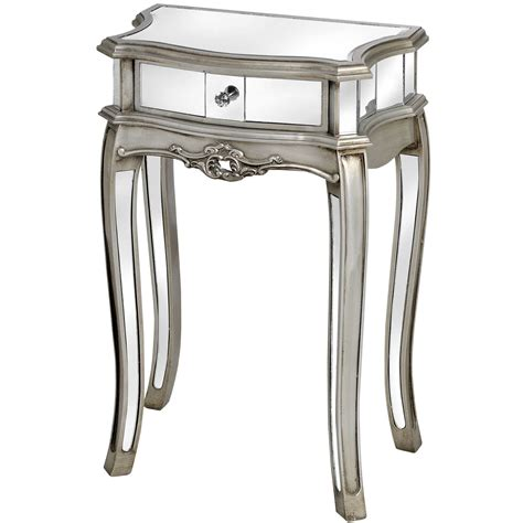 mirrored bedside table with one drawer argente mirrored 1 drawer l table