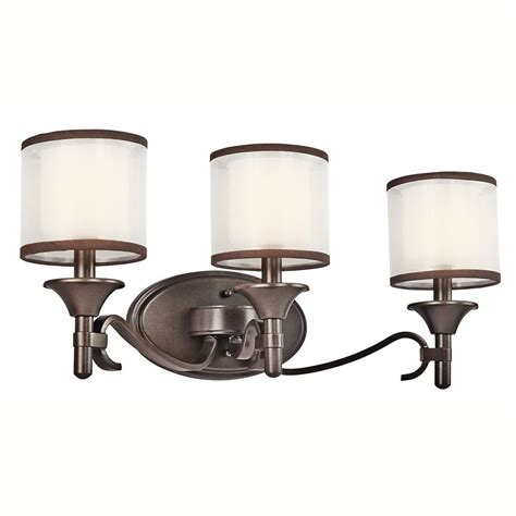 Kichler Bathroom Lights Shop Kichler 3 Light 10 In Mission Bronze Drum