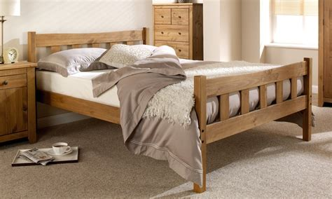 hand crafted wooden bed frame groupon goods