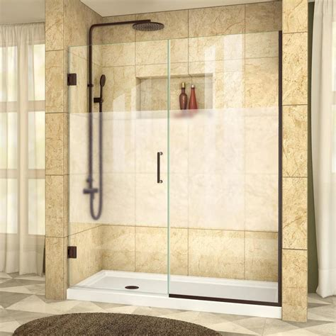 Dreamline Shower Doors Reviews Shop Dreamline Unidoor Plus 53 In To 53 5 In W Frameless Rubbed Bronze Hinged Shower Door At