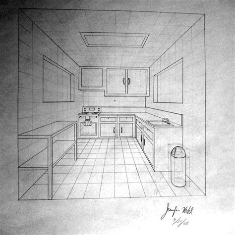 Drawing 7 Point by 1 Point Perspective Room 09 Perspektif