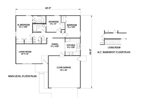 1100 sq ft ranch style house plan 3 beds 2 baths 1100 sq ft plan