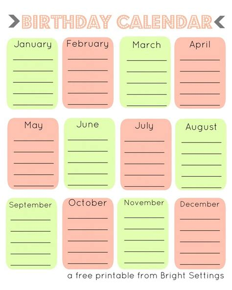 birthday calendars templates 28 best images about printable birthday calendar on