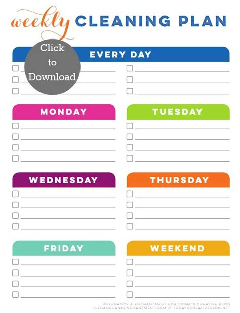 Weekly Cleaning Schedule Printable Lists Labels Bath Cleaning Laundry Pinterest Cleaning Laundry Schedule Template