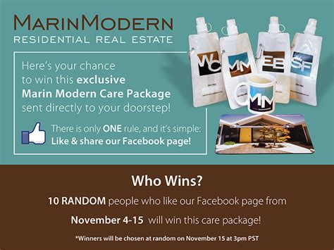 Facebook Share Giveaway - marin modern giveaway on facebook like and share our page