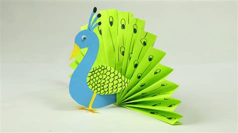 Paper Handcraft - paper crafts for easy blue and neon peacock with