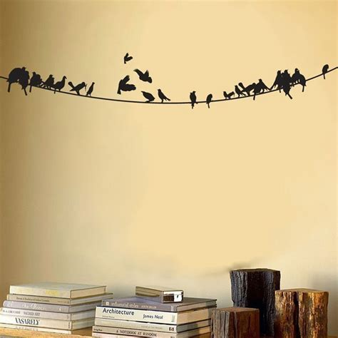 wall stickers wall graphics birds sitting on a powerline vinyl wall decal