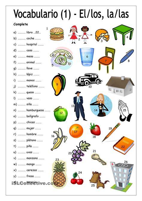 actividades para ninos de espanol vocabulario 1 complete con el los la las ele para