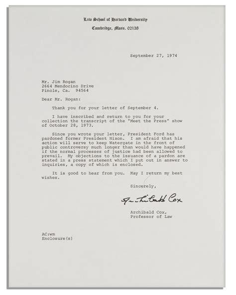 Nixon Resignation Letter Pdf lot detail 2 watergate letters by archibald cox elliot