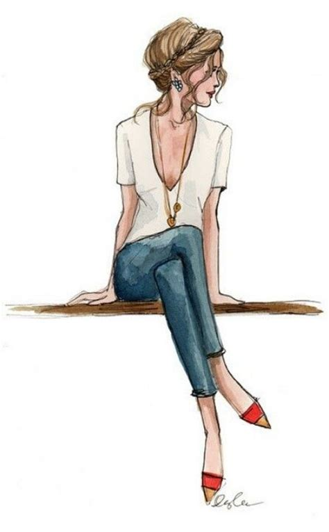 fashion illustration denim fashion illustrations white shirt blue shoes pin nest