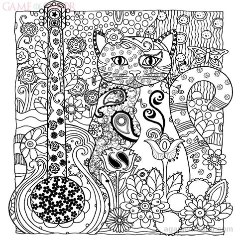 intricate cat coloring page animal cats coloring kids