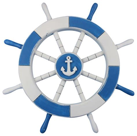 Sailboat Home Decor light blue and white ship wheel with anchor 18 anchor