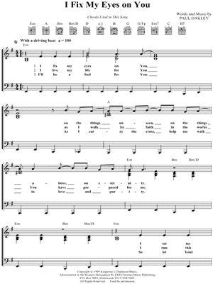 fix my eyes printable lyrics paul oakley sheet music to download and print world